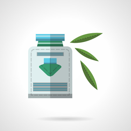 herbal medicine: Alternative medicine, herbal medicine. Bottle of herbal syrup and green leaves. Organic nutrition. Vector icon flat color style. Web design element for site, mobile and business. Illustration