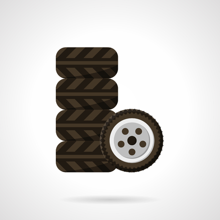 retreading: Car tires set. Garage symbol. Tyre car service. Automobile parts shop. Vector icon flat color style. Web design element for site, mobile and business.