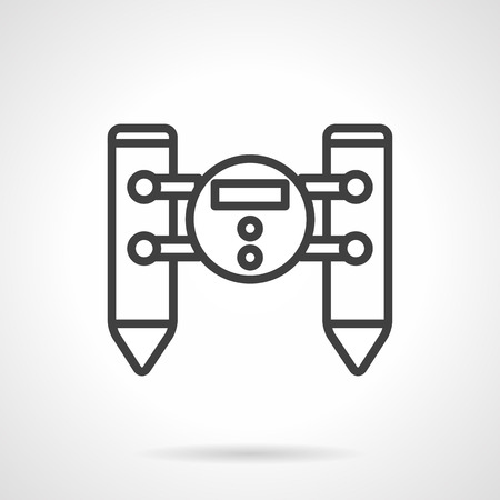 unmanned: Water floating unmanned robot. Military spy unit. Remote control vehicle. Vector icon simple black line style. Single design element for website, business. Illustration