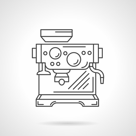 espresso: Coffee espresso machine. Coffee drinks. Coffee making. Coffee shop and cafe equipment. Vector icon flat thin line style. Element for web design, business, mobile app.