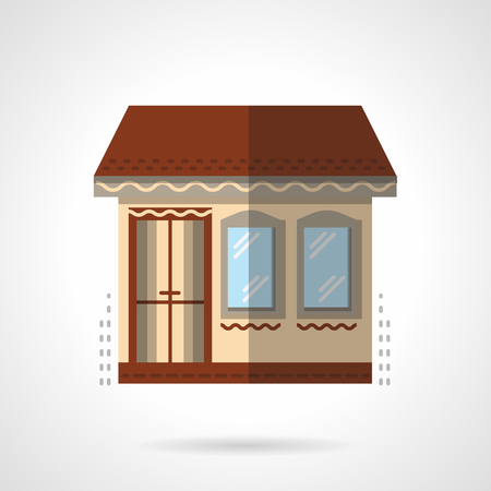 storefronts: Exterior of buildings shop. Commercial architecture. Storefronts and showcases. Vector icon flat color style. Web design element for site, mobile and business. Illustration