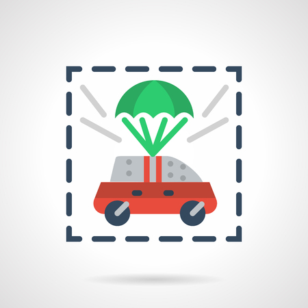 defence: Red car flying in green parachute. Car insurance concept. Automobile protection and defence. Vector icon flat color style. Web design element for site, mobile and business.