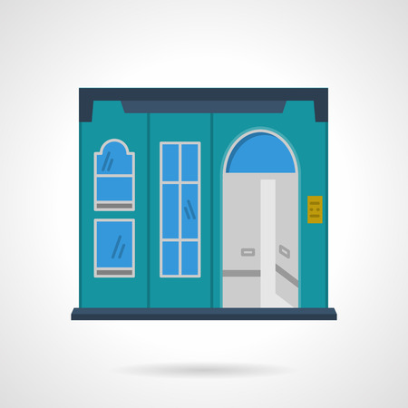 storefronts: Blue facade with arch door and different windows. Storefronts and showcases. Supermarket. Vector icon flat color style. Web design element for site, mobile and business.