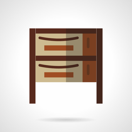 drawers: Brown cabinet or cupboard with two drawers. Vector icon flat color style. Web design element for site, mobile and business.