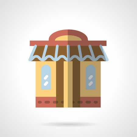 Brown local shop store facade with awning and two windows. Boutique. Storefronts and showcases. Vector icon flat color style. Web design element for site, mobile and business. Illustration