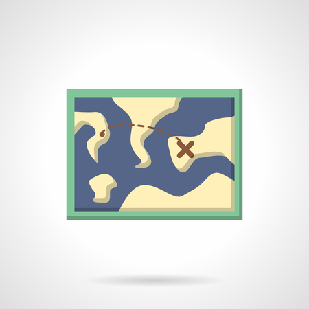 cross country: Map with tourist route. Hiking and adventure. Sport orienteering in cross country Vector icon flat color style. Web design element for site, mobile and business.
