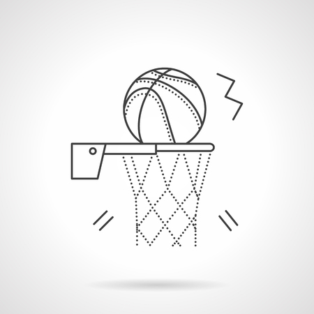 competitive sport: Basketball hoop with net and ball. Basketball sign. Competitive sport. Team sport.  Flat thin line style vector icon. Single design element for website, business.