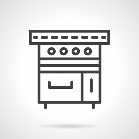 bakery oven: Kitchen appliance. Electric or gas stove. Bakery oven. Vector icon simple black line style. Single design element for website, business. Illustration