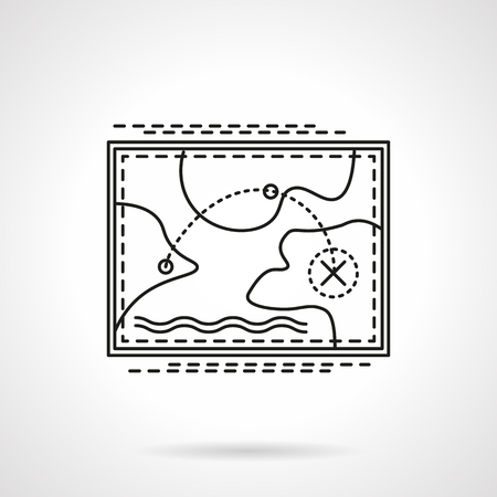 rout: Abstract map with tourist rout. Travel destinations. Travel and tourism. Flat thin line style vector icon. Single design element for website, business. Illustration
