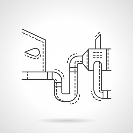 car exhaust: Auto service sign. Car maintenance. Failure diagnosis. Exam of car exhaust. Flat thin line style vector icon. Single design element for website, business. Illustration