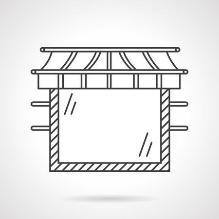 storefronts: Storefronts and showcases theme. Store with large glass window. Commercial buildings. Vector icon flat line style. Web design element for site, mobile and business.