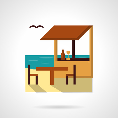 coastline: Coastline with tropical cafe. Table with two chairs. Tropical resort. Vector icon flat color style. Web design element for site, mobile and business. Illustration