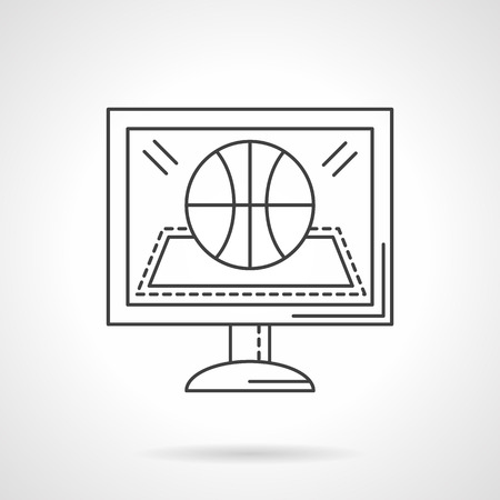 online game: Monitor with abstract basketball game symbol. Online game translation. Flat thin line style vector icon. Single design element for website, business.