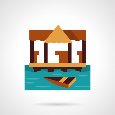 jetty: Coastline with wooden jetty and wooden boat. Sea fishing. Tropical resort. Vector icon flat color style. Web design element for site, mobile and business. Illustration
