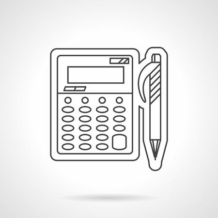 office accessories: Management and accounting. Office accessories. Calculator and pen. Flat thin line style vector icon. Single design element for website, business.