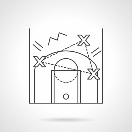 tactic: Basketball tactic or game strategy planning, scheme of attack or defense. Flat thin line style vector icon. Single design element for website, business.