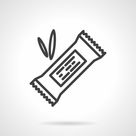 Organic sweets. Cereal energy or protein bar in pack with abstract label. Vector icon simple black line style. Single design element for website, business.