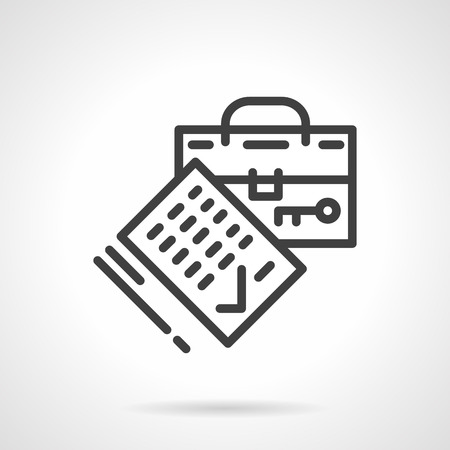 housing estate: Agreement signing. Housing contract and suitcase. Real estate, rental of property concept. Black simple line style vector icon. Single design element for website, business.