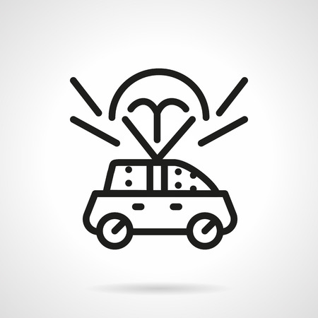 insured: Concept of car insurance. Automobile flying with parachute. Insured car. Car delivery. Black simple line style vector icon. Single design element for website, business.