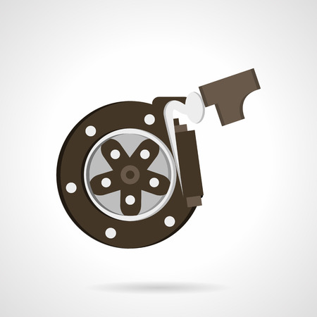 braking: Car braking system. Brake disk with pads. Car repair service. Flat color style vector icon. Single design element for website, business. Illustration
