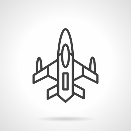 unmanned: A top view of an airplane. Military aircraft. Unmanned air vehicles. Black simple line style vector icon. Single design element for website, business.