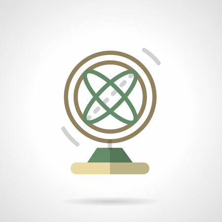 orbital: Round orbital magnetic pendulum. Abstract atom model. Science souvenirs. Flat color style vector icon. Single design element for website, business. Illustration