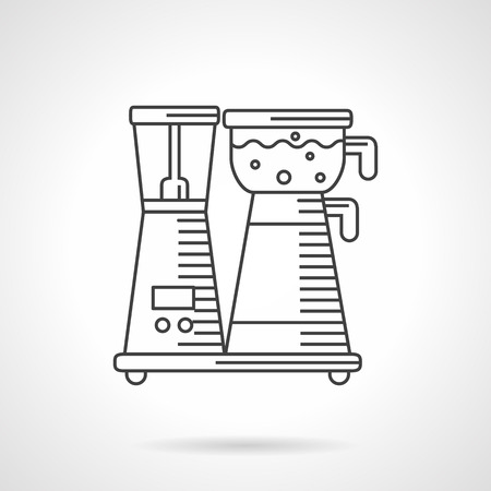 machine shop: Kitchen equipment. Coffee maker. Household appliances. Flat thin line style vector icon. Single design element for website, business. Illustration