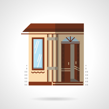 post office building: Post building office facade. Commercial and public architecture. Storefront and showcases. Flat color style vector icon. Single design element for website, business. Illustration