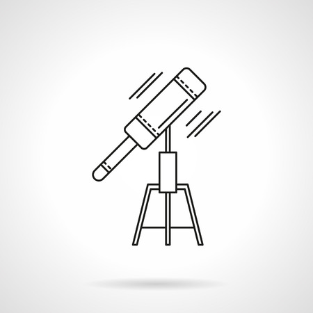 Telescope with tripod. Astronomy tools. Equipment for study and space research. Flat thin line style vector icon. Single design element for website, business. Vector Illustration