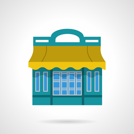 storefronts: Cafeteria, restaurant or cafe facade. Dinner building. Bistro. Storefronts and showcases. Flat color style vector icon. Single design element for website, business.