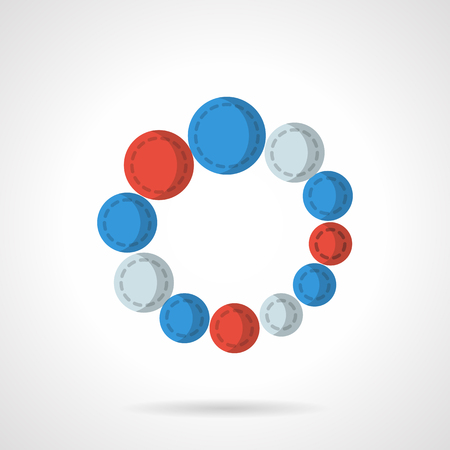 preloader: Circular loading sign with three-color balls - blue, gray and red. Web buttons. Preloader. Flat color style vector icon. Single design element for website, business.