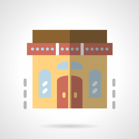 storefronts: Facade of a library building or a bookstore. Wall with double arched doors and symmetry windows. Storefronts and showcases. Flat color style vector icon. Single design element for website, business.