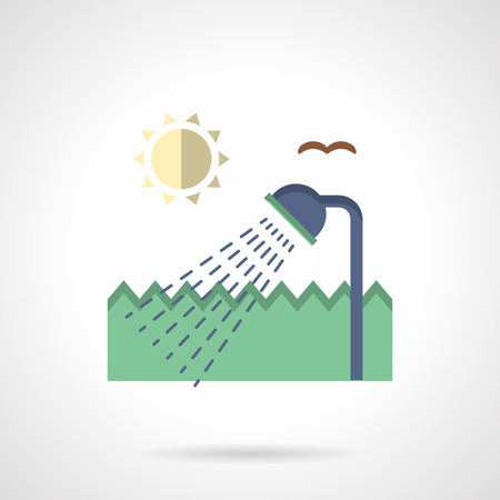 camping site: Outdoors shower, sun and green fence. Summer leisure. Camping services. Flat color style vector icon. Web design element for site, mobile and business. Illustration