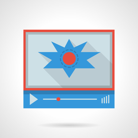 action movie: Video player with action movie. Video blog, social media, broadcasting. Flat color style vector icon. Web design element for site, mobile and business.