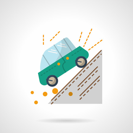 Green car moving down the slope. Accident in a mountains. Auto insurance concept.  Flat color style vector icon. Web design element for site, mobile and business.