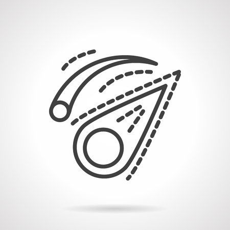 comet: Comet and meteor. Falling comet. Comet in space. Astronomy sign. Space research. Education and science. Simple black line vector icon. Single element for web design, mobile app. Illustration