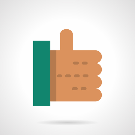 10 fingers: Abstract hand with thumb up. Approve symbol. Good and OK sign. Social networks. Voting. Flat color style vector icon. Web design element for site, mobile and business. Illustration