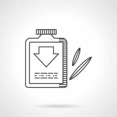 purgative: Herbal laxative. Bottle with label with down arrow sign and leaves. Web pharmacy. Healthcare. Flat line style vector icon. Single design element for website, business.