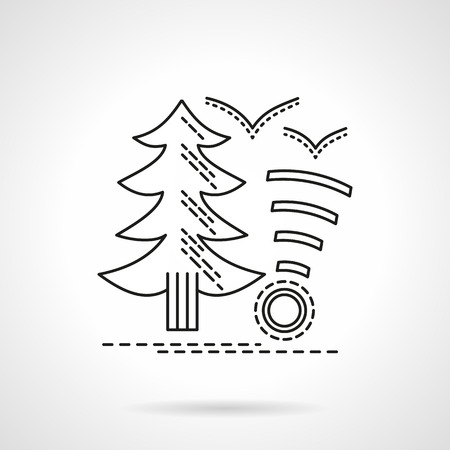 tree service: Fir tree and wireless internet sign. Camping service. Info sign. Tourist house. Travelers rest concept.  Flat line style vector icon. Single design element for website, business.