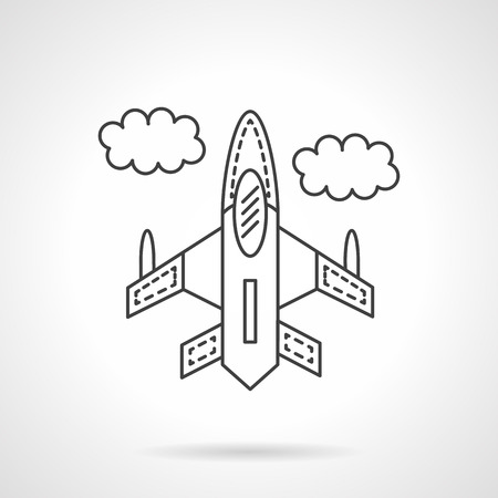 motor launch: Flying jet fighter in a sky with clouds. Military airplanes. Aircraft. Air vehicle. Flat line style vector icon. Single design element for website, business. Illustration