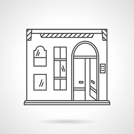 Pub or restaurant facade with arch door. Commercial buildings. Town architecture. Storefronts and showcases. Flat line style vector icon. Single design element for website, business.