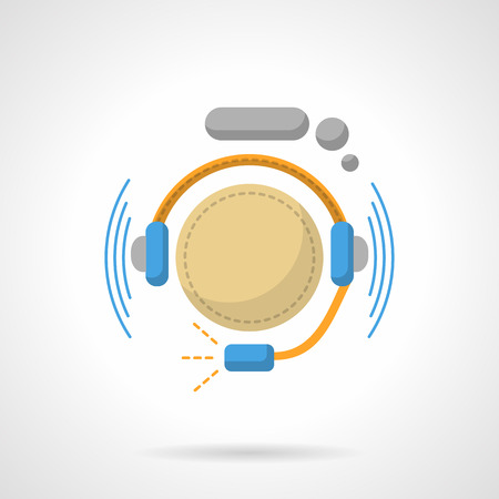 color consultation: Hotline support service. Operator with headphones. Consultation and help. Call center button. Flat color style vector icon. Web design element for site, mobile and business.
