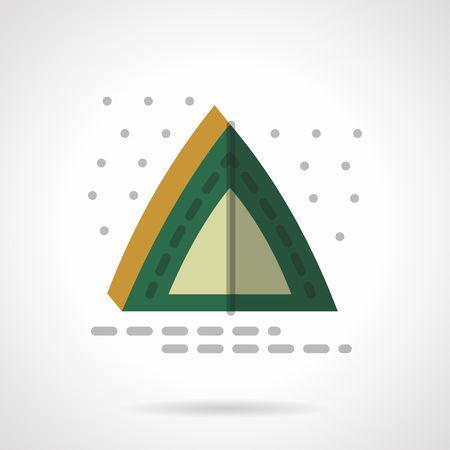 camping site: Camping green tent under abstract starry sky. Hiking at night. Tourism theme. Flat color style vector icon. Web design element for site, mobile and business. Illustration