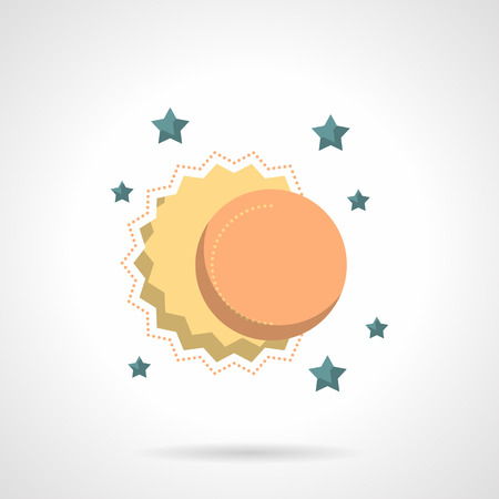 celestial: Sun, moon and stars. Sky objects. Celestial body. Astronomy, meteorology and astrology symbol. Space research. Flat color style vector icon. Web design element for site, mobile and business.