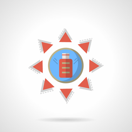 accumulation: Accumulation of solar energy. Blue sun with red triangle rays and charge battery sign. Alternative energy. Ecology theme. Flat color style vector icon. Web design element for site, mobile, business.