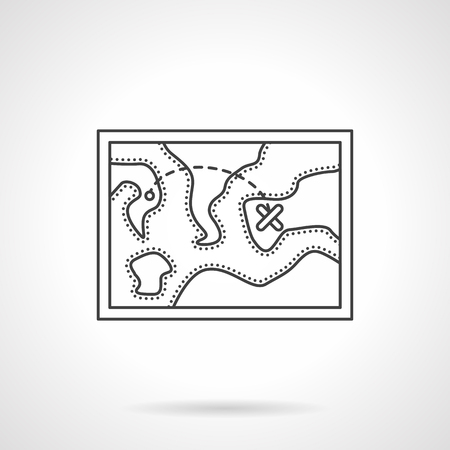 route map: Map of territory with hike route. Map of trip. Camping and traveling. Flat line style vector icon. Single design element for website, business.
