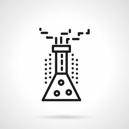 chemical reaction: Lab experiment in beaker. Chemical conical glass with bubbles. Chemical reaction. Science and education. Simple black line vector icon. Single element for web design, mobile app.
