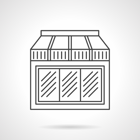 vitrine: Exterior window with awning. Facade of restaurant, cafe or store. Storefronts and showcases.  Flat line style vector icon. Single design element for website, business.