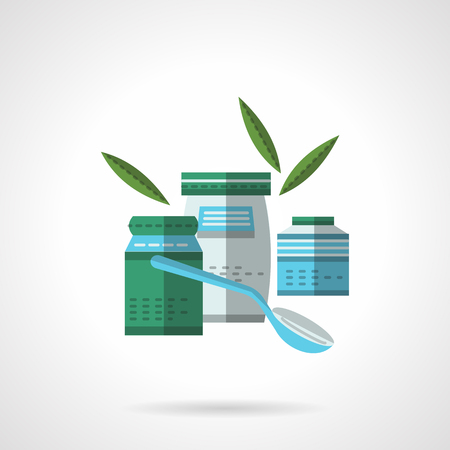 puree: Green, gray and blue jars with spoon and leaves. Organic food. Healthy nutrition. Flat color style vector icon. Web design element for site, mobile and business. Illustration