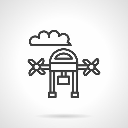 surveillance symbol: Abstract drone with camera. Smart hobby toy with action camera. Videography or surveillance symbol. Simple black line vector icon. Single element for web design, mobile app. Illustration